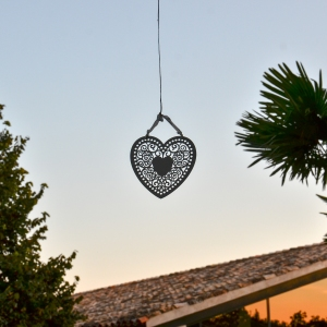 Heart mobile hanging at a wedding venue in Salou, Spain