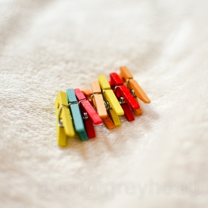 Miniature clothes pegs