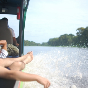 On a river boat in Costa Rica
