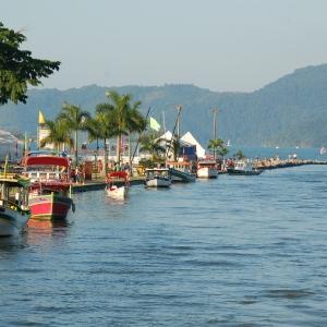Boats moored by the sea at Paraty, near Rio, Brazil
