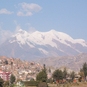Huayna Potosí mountain viewed from La Paz, Bolivia.