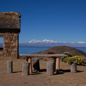 A rest spot and shelter on a hilltop on Isla del Sol, Lake Titicaca, Bolivia.