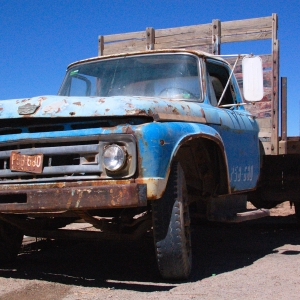 Beaten-up old truck in Salar de Uyuni, Bolivia.