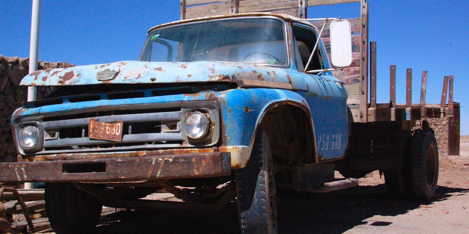 Old truck in Salar de Uyuni, Bolivia