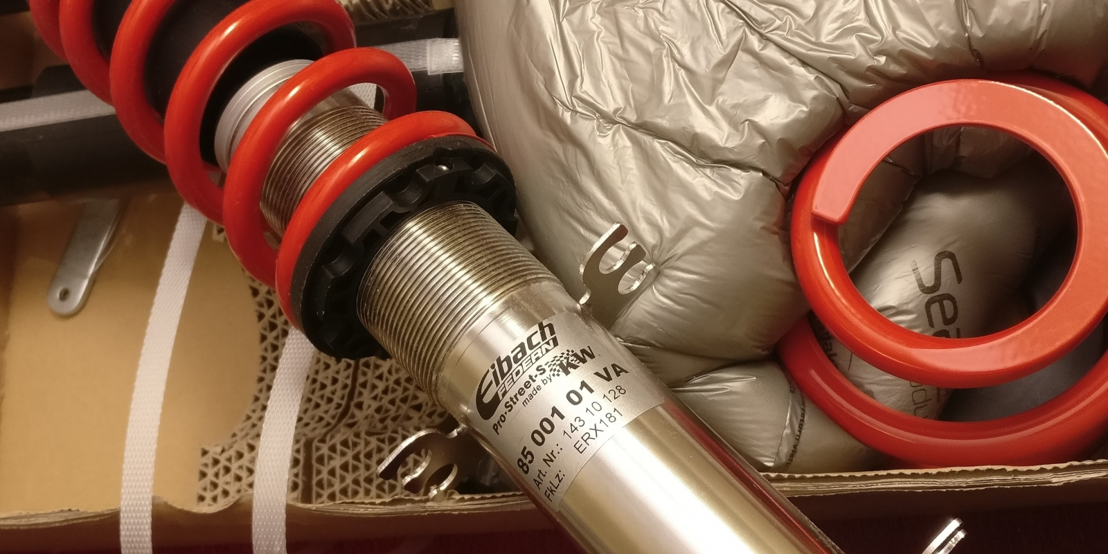 Eibach/KW coilover in the box with packaging